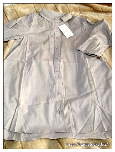 グレーの七分袖のコットン100%シャツ