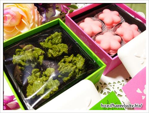 京都 北山 マールブランシュ 縁結日バレンタインコレクション お濃茶クランチ、桜のマカロン 中身