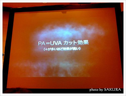 PA=UVAカット効果