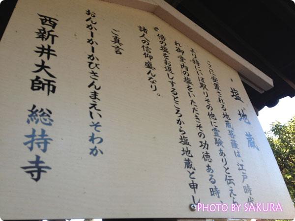 西新井大師(總持寺) 塩地蔵の説明