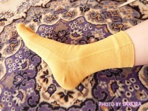 シルクパーティー「絹木綿5本指靴下」からし色 着画2