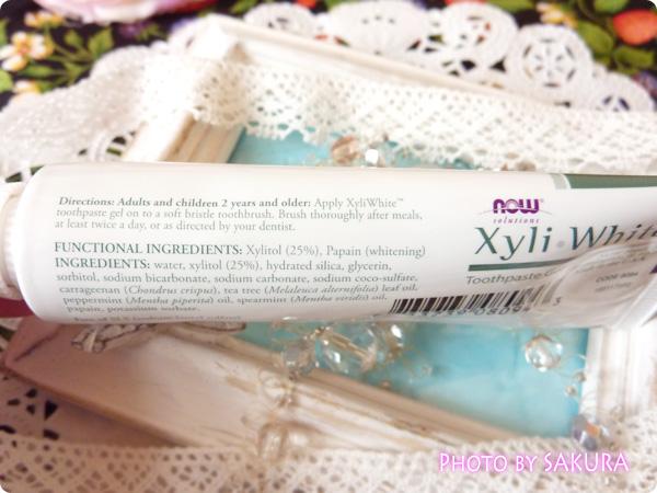 Now Foods, XyliWhite Toothpaste Gel, Refreshmint, Fluoride-Free, 1 oz (28 g) 裏側