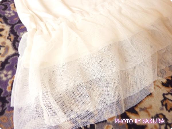 g.u.(ジーユー)「裾レースキャミチュニック」裾チュールレースアップ