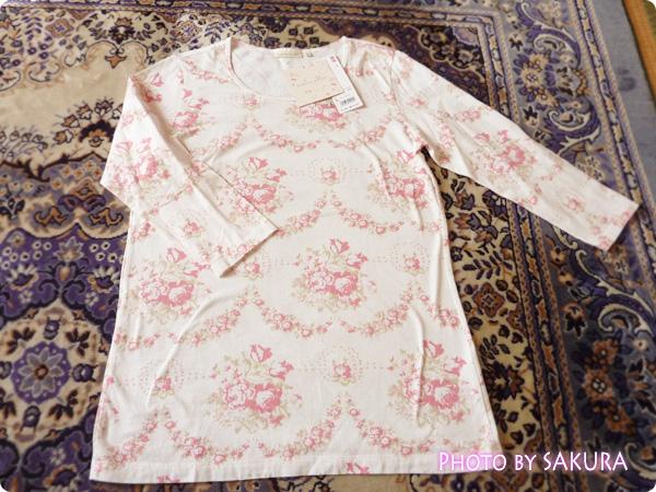 WOMEN ⁄ UT(プリント Tシャツ) W CABBAGES&ROSESクルーT(7分袖)全体