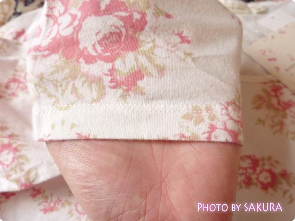 WOMEN ⁄ UT(プリント Tシャツ) W CABBAGES&ROSESクルーT(7分袖)袖アップ
