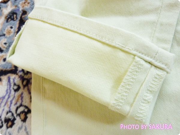 (GU)カラースキニーパンツ(ローライズ)A グリーン 裾の縫い目アップ