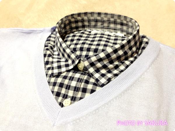 コットンローンプリントシャツ+コットンブレンドVネックリラックスセーター2