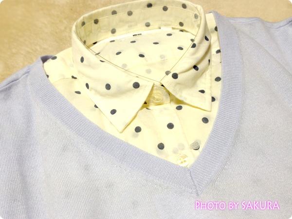 コットンローンプリントシャツ+コットンブレンドVネックリラックスセーター3