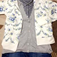 コットンローンプリントシャツ+コットンブレンドロングカーディガン+W CABBAGES & RスウェットフルジップパーカE+デニムロングスカート