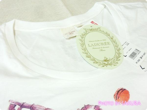 [UT]ユニクロ×LADURÉE(ラデュレ)コラボラッキーモチーフTシャツ襟ぐりアップ