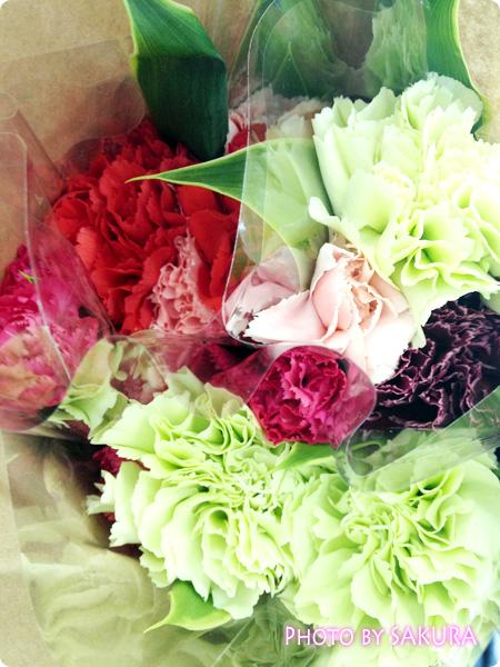 開場外で売っていた花屋さんで買った切り花。カーネーション3束