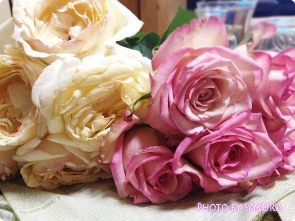 バラが2束で1,000円