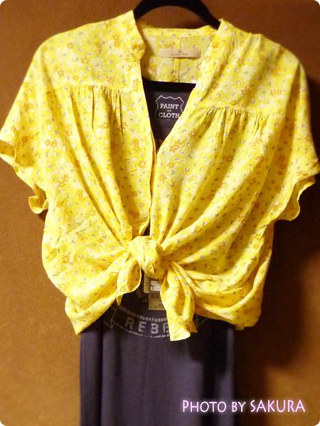 ギャザープリントブラウス半袖 イエロー+ユニクロ Paint+Clothコラボ マキシ丈ワンピース