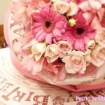 【ネット限定】「日比谷花壇」誕生日メッセージを添えた1輪のバラのような花束ラッピング「ペタロ・ローザ」