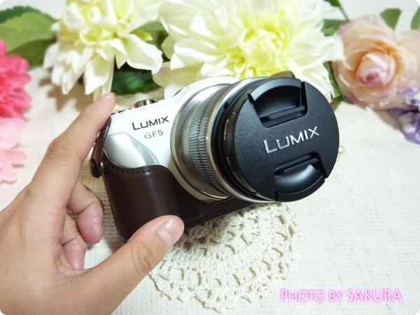 LUMIX DMC-GF5用カメラケース DMW-BCSK2 ブラウン ボディケース・ストラップキット装着