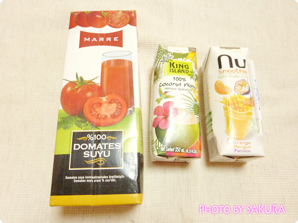 トマトジュース、ココナッツウォーター、フルーツミックスジュース