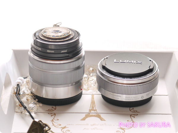 LUMIX G 20mm/F1.7 II ASPH. H-H020A-S [シルバー]とLUMIX G VARIO 14-42mm/F3.5-5.6 II ASPH./MEGA O.I.S.サイズ比較