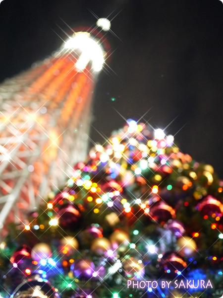 スカイツリー【ライティング・キャンドルツリー】と、クリスマスツリー634 ぼかし