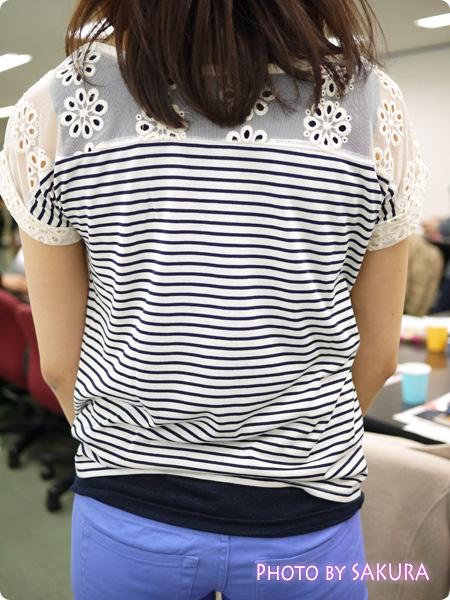 RyuRyu夏号掲載 チュールレース切替Tシャツ 後ろ