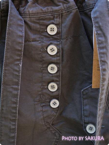 オシャレウォーカーオリジナル『アシンメトリーデザインカーゴスカート』 フロントのボタンは飾り