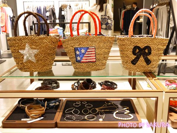 スパンコールモチーフカゴバッグ アメリカ国旗、星、リボンモチーフ