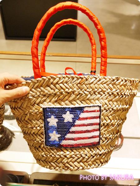 スパンコールモチーフカゴバッグ アメリカ国旗バッグ
