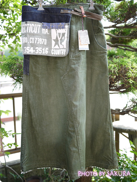 LIME.INCライム Lime (ライム)エプロン付カラーデニムロングスカート 全体