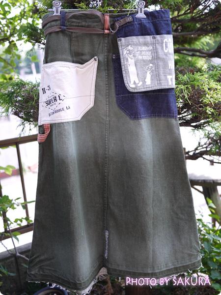 LIME.INCライム Lime (ライム)エプロン付カラーデニムロングスカート 後ろ側