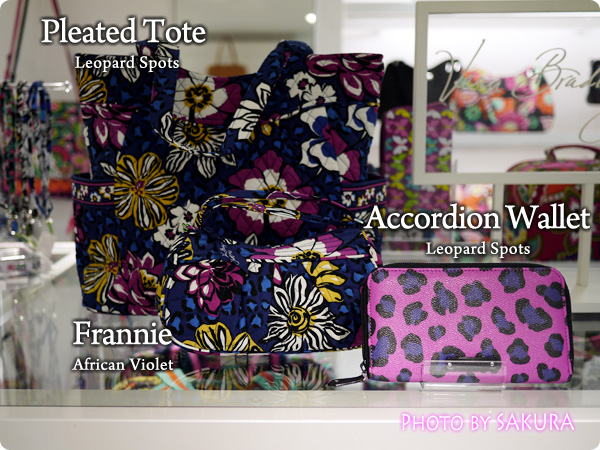 Vera Bradley ヴェラブラッドリー African Violet Leopard Spots  Pleated Tote Accordion Wallet  Frannie