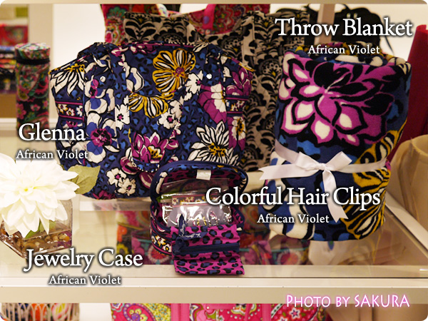 Vera Bradley ヴェラブラッドリー  Glenna Jewelry Case  Throw Blanket Colorful Hair Clips