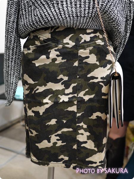 ストレッチツイル迷彩ハイウエストタイトスカート