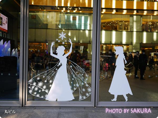 丸の内イルミネーション2014 クリスマス アナと雪の女王 ガラス窓