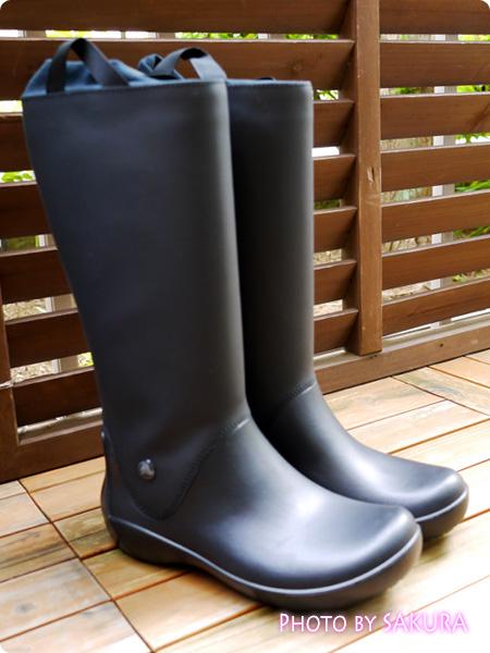 クロックス「rain floe boot w レインフロー ブーツ ウィメンズ」black 全体