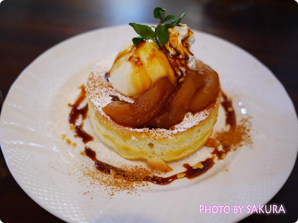 星野珈琲店【季節限定】 キャラメルリンゴのスフレパンケーキ 全体