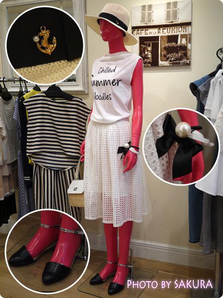 セシール Image(イマージュ) 2015年春夏 中折れハット+白Tシャツ+白レーススカート
