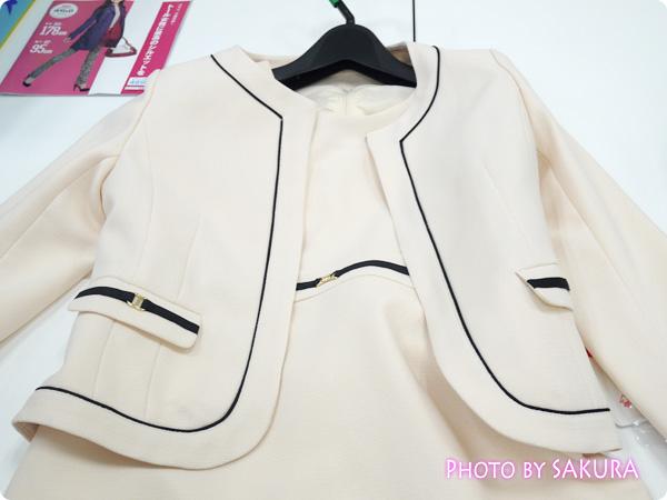 〈小さいサイズ〉ビット付変織アンサンブル(ジャケット+ワンピース)  ジャケット