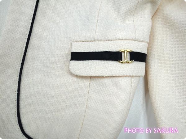 〈小さいサイズ〉ビット付変織アンサンブル(ジャケット+ワンピース)  ジャケットのアップ