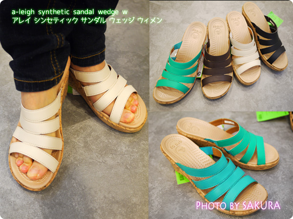 a-leigh synthetic sandal wedge w アレイ シンセティック サンダル ウェッジ ウィメン 着画