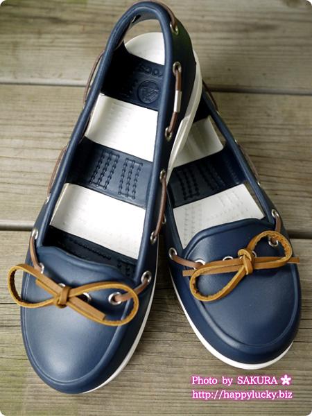 crocs クロックス beach line boat shoe w ビーチライン ボート シュー ウィメン (navy / white) 全体