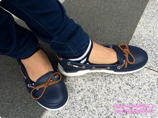 crocs クロックス beach line boat shoe w ビーチライン ボート シュー ウィメン (navy / white) 着画5