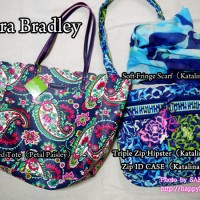 Vera Bradley ヴェラブラッドリー Scalloped Tote(Petal Paisley)、Triple Zip Hipster(Katalina Blues)、Soft Fringe Scarf(Katalina Blues)、Zip ID Case(Katalina Pink)
