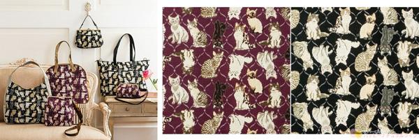 フェリシモ 猫部 【NEW】私の相棒 猫の素敵ゴブラン織りバッグの会(6回予約コレクション) バッグ画像とテキスタイルアップ