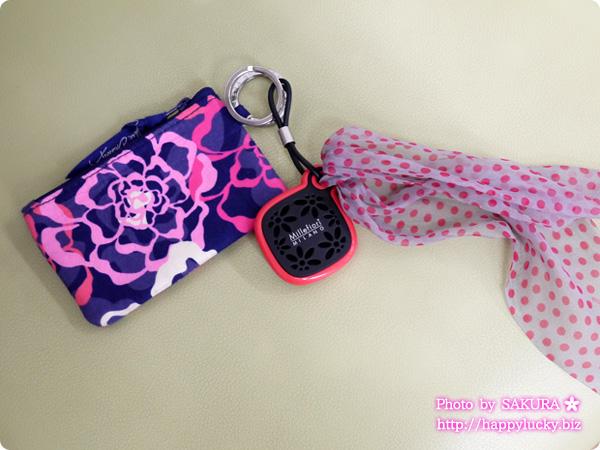 Millefiori(ミッレフィオーリ) Milledy(ミレディー)シリーズ キーリング(ローズ)ナルシスにヴェラブラッドリーのKatalina Pink(カタリナピンク)柄のZip ID Caceつけてみた