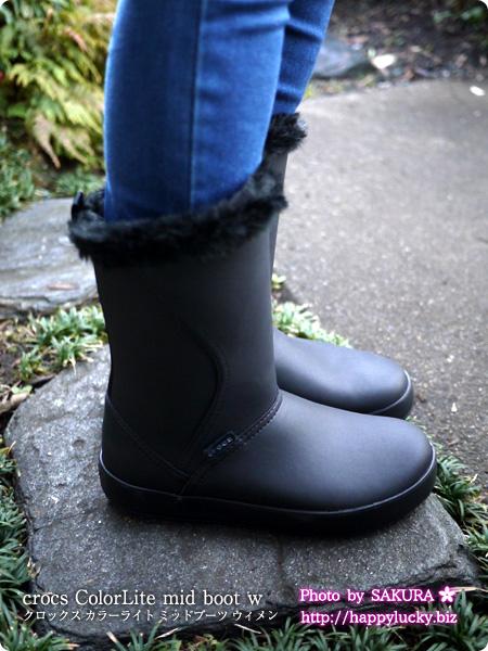 crocs ColorLite mid boot w クロックス カラーライト ミッドブーツ ウィメン  着画 レギンスパンツ横から