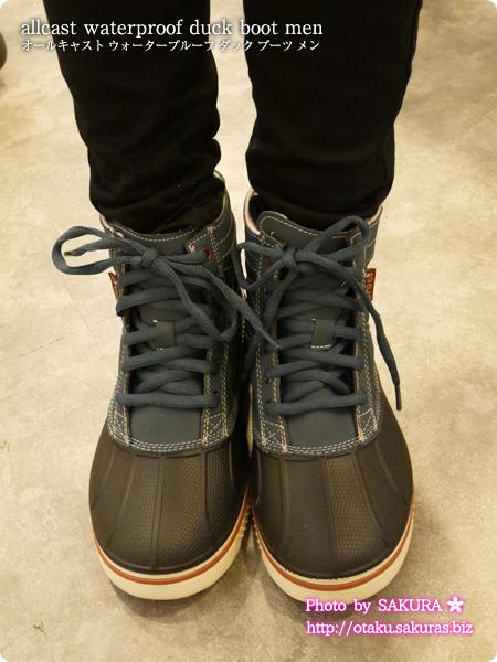 crocs クロックス allcast waterproof duck boot men オールキャスト ウォータープルーフ ダック ブーツ メン nightfall / stucco 着画