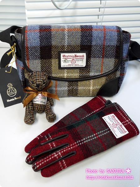 グレンチェックで人気のハリスツイードのポシェットやクマのバッグチャーム、手袋など