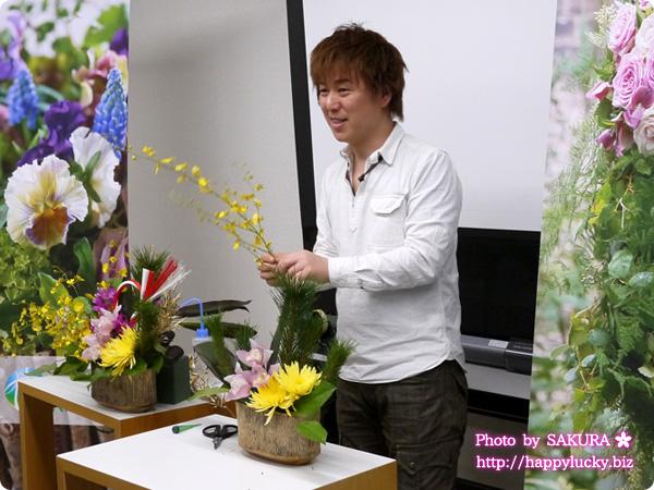 アレンジメント「蘭の舞」 日比谷花壇シニアデザイナー福井崇史さんのデモンストレーション