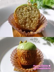 チャプチーノのカップケーキ ピスタチオピスタチオ 断面図