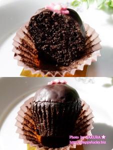 チャプチーノのカップケーキ Wチョコ 断面図