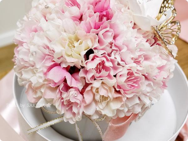メリアルーム フラワーアレンジメント エレガンス・チェリー(八重桜)  本物のようなアートフラワーの桜がぎっしり40輪以上
